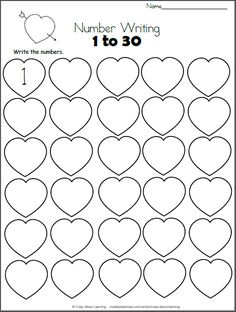 Free Valentine's Day math worksheet.  Write the numbers from 1 to 30 on the hearts.  This worksheet is a perfect Valentine number practice printable for preschool and kindergarten students who are still learning their numbers.