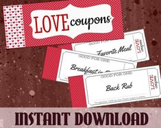 Printable Love Coupon Book Customized for Him or Her & BONUS Naughty Coupons - Instant Gift for Boyfriend, Girlfriend, Husband, Wife für ihn Love Coupons For Him, Coupons For Boyfriend, Boyfriend Gifts, Boyfriend Girlfriend, Boyfriend Style, Coupons D'amour, Printable Coupons, Printables, Love Anniversary