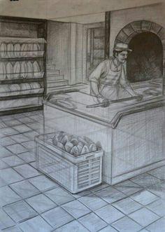 Ekmekci fırın imgesel cizimi gsf hazirlik kara kalem.