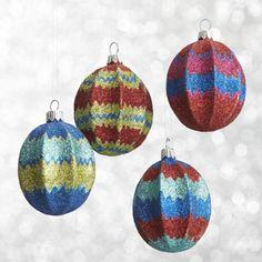 Global Glitter Zigzag Drop Ornaments  | Crate and Barrel