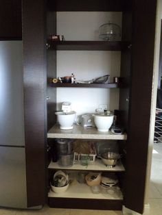 Electric appliance cupboard Built In Cupboards, Electrical Appliances, China Cabinet, Bookcase, Kitchens, Shelves, Storage, Furniture, Home Decor