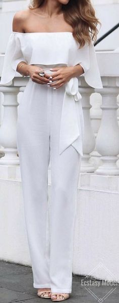 #outfit #ideas / white off the shoulder jumpsuit