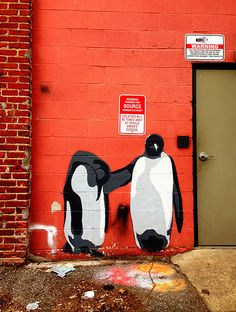 penguin friends, Washington DC Stencil Street Art, Murals Street Art, Street Art Graffiti, Stencil Graffiti, Art Manifesto, Graffiti Photography, Wonder Art, True Art, Outdoor Art