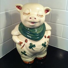 Antique cookie jar that my mother treasured. I LOVE my lucky pig!