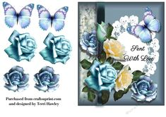 Very pretty 6x7 3D decoupage card front, very easy to make, and fits any A5 envelope when finished..  It has beautiful blue and yellow roses,.   The same card also comes with the greetings of Happy Birthday, get well soon.and thinking of you..