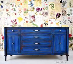 I'm loving blue! Finished with Annie Sloan Napoleonic Blue, Provence, Florence, Emperor's Silk, Scandinavian Pink and Honfleur! Loft Furniture, Furniture Logo, Refurbished Furniture, Cabinet Furniture, Furniture Styles, Large Furniture, Cheap Furniture, Furniture Projects, Rustic Furniture