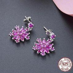 Silver/Gold Drop Earrings Crystalized Pink/White CZ Snowflake Earrings For Women Ruby Earrings, Gold Drop Earrings, Gold Earrings For Women, Branded Gifts, Metal Stamping, Jewelry Branding, Fashion Earrings, Pink White, Fine Jewelry