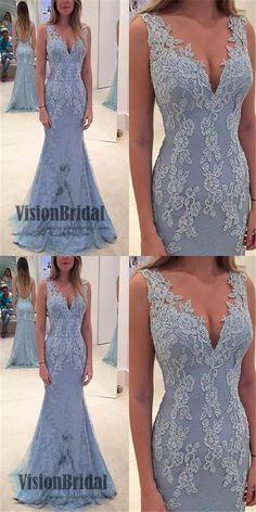 Regular Straps Deep V-neck Mermaid Prom Dress, Lace Applique Beading Prom Dress, Floor Length Prom Dress, VB075 #promdress