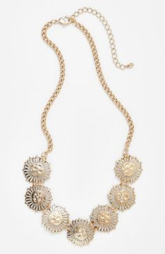 Stephan & Co. Metal Flower Necklace Gold One Size