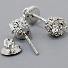 Diamond Stud Earrings Antique Edwardian Style Gold