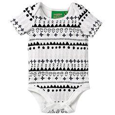 Buy Donna Wilson for John Lewis Baby Aztec Print Bodysuit, White/Black Online at johnlewis.com