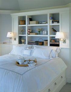 bookshelves as headboard - LOVE this!