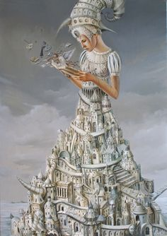 Paintings by Tomasz Setowski Surrealism Painting, Pop Surrealism, Art Rules, Magic Realism, Arte Horror, Matte Painting, Moon Art, Fantastic Art, Art Journal Inspiration