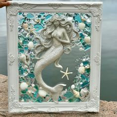 Beach Glass and Seashells in Barnwood Frames by lilyvictoria Seashell Painting, Seashell Art, Seashell Crafts, Beach Crafts, Sea Glass Crafts, Sea Glass Art, Resin Crafts, Resin Art, Mermaid Crafts