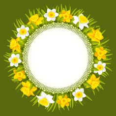 Illustration about Beautiful wreath of spring flowers, yellow and white daffodils. Illustration of card, daffodil, celebration - 38974591 Most Beautiful Birds, Beautiful Rose Flowers, Amazing Flowers, Christmas Fayre Ideas, Arts And Crafts For Kids Easy, Frame Border Design, Banner Background Images, Bird Houses Painted, Frame Clipart
