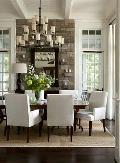 Stone mixed with mouldings Dining Bench, Dining Chairs, Home Decor Styles, Unique Home Decor, Diy Home Decor, Dining Room Inspiration, Home Decor Inspiration, Furniture, Comment