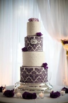 Purple Damask Cake. like the idea of having a plaque space in the middle of the stencil have to remember this
