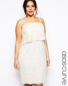 ASOS CURVE - Cami Dress With Lace Layers