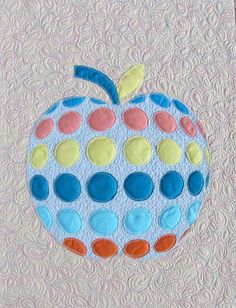 Apple Wall hanging Quilt - simple and modern quilt with original applique design - small fabric wall decor