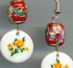 Cloisonne Floral Earrings €2.50 Tiny Violin, Pendant Necklace, Drop Earrings, Floral, Jewelry, Jewlery, Jewerly, Flowers, Schmuck