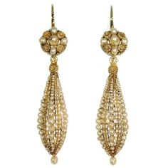 Antique dangle earrings with filigree work and seed pearls