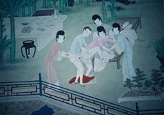 Kangxi court,1662-1670. Gu Jianlong's Jin Ping Mei Illustrations: Chapter Seventeen in which Vesperus engages in anal copulation with Flora, while the other three assist him and hold her down. Behind them is a stone table strewn with erotic albums (which Flora collected), wine ewer and cups, and dishes of things to eat.