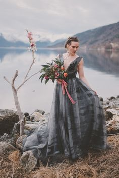 Intimate wedding elopement shoot set against the backdrop of a dark Norwegian fjord, with epic mountain landscapes and moody chic Nordic minimalism. Dark Grey Weddings, Norwegian Wedding, Gray Wedding Colors, Wedding Photography Styles, Wedding Dress Styles, Bridal Portraits, Chic Wedding, Bride, Norway