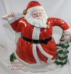 Vintage Fitz & Floyd OCI Omnibus Christmas Santa Claus Tea Pot via Etsy