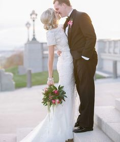 modest wedding dress with half sleeves and a straight skirt from alta moda. -- (modest bridal gown)
