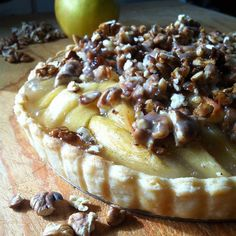 Apple Toffee Tarte with Salted Maple Pecan Praline | Check out this recipe on Made Just Right by Earth Balance