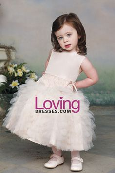 Flower Girl Dresses Ball Gown Scoop Ankle Length Tulle USD 109.99 LDPMN55STF - LovingDresses.com for mobile