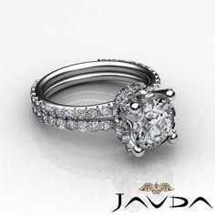 Round Diamond Eternity Style Pave Set Engagement Ring GIA G SI1 Platinum 1 65 Ct   eBay