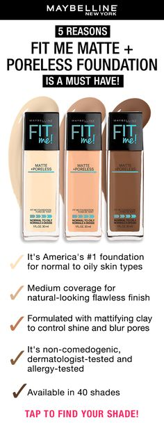 Maybelline's Fit Me Foundation is America's #1 Foundation! Perfect for normal to oily skin types that want to achieve a natural-looking flawless finish. Tap to find your shade your the foundation finder.