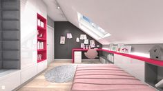 Wystrój wnętrz - Pokój dziecka dla dziewczynki - pomysły na aranżacje. Projekty… Study Room Decor, Attic Rooms, House Rooms, My Room, Bunk Beds, Stairs, Furniture, Home Decor, Design