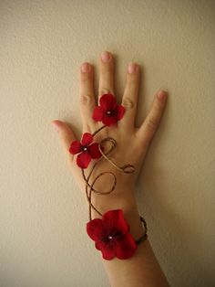 Red Floral Slave Bracelet Woodland Wedding by Frecklesfairychest, $20.00