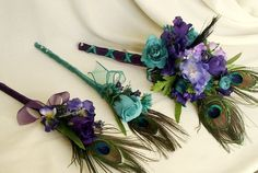 Peacock Wedding Flowers 6 Piece Budget Bouquet Package Purple Teal Boutonnieres Bridal Party Accessories