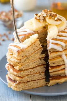Banana Bread Pancakes with Cream Cheese Glaze - Cooking Classy