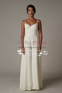fbce6459c10 Spaghetti chiffon wedding jumpsuit Wide leg pants pantdress wps-006