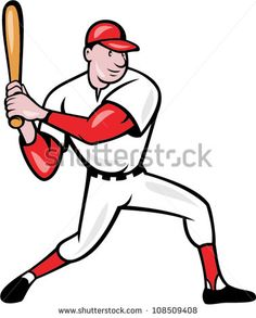 Illustration of a american baseball player batting cartoon style isolated on white background. #baseball #cartoon #illustration