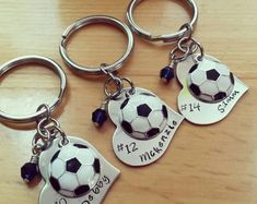 Hand Stamped Personalized Soccer Keychain - Girls Soccer Heart Keychain - Soccer Team Gift - Soccer Gifts - Soccer Gift for Girls Soccer Coach Gifts, Team Gifts, Cheer Gifts, Diy Gifts, Girls Soccer Team, Football Moms, Football Gif, Soccer Banquet, Soccer Party