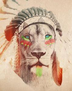 Lion with Headdress, cool poster, printed on Archive paper. Perfect for a guest room!