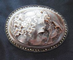 Signed Judith Jack Sterling and Marcasite Carved Mother Of Pearl Cameo Brooch With Woman and Bird