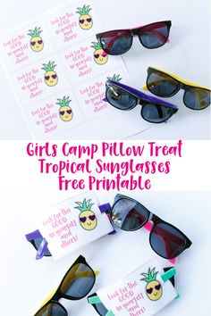 Diy Crafts : Illustration Description This Girls Camp Pillow Treat Tropical Sunglasses Free Printable is sure to be a hit with the young women in your group. Crafting is just…Fun! -Read More – Girls Camp Handouts, Yw Handouts, Young Women Activities, Indoor Activities For Kids, Indoor Games, Summer Activities, Family Activities, Outdoor Activities, Girls Camp Gifts