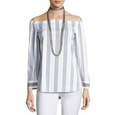 Lafayette 148 New York Natayla Striped Stretch-Cotton Off-the-Shoulder... ($398) ❤ liked on Polyvore featuring tops, blouses, ink multi, striped pullover, striped top, stripe top, off shoulder tops and off the shoulder tops