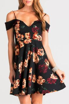 f99f4aa41 Floral, off-shoulder, fit and flare dress with straps. Adorable dress,