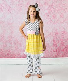 Look at this #zulilyfind! Gray & Yellow Polka Dot Capri Set - Infant, Toddler & Girls #zulilyfinds