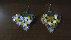 yellow and white turkish oya jewelry by CiciByMuy on Etsy, $10.00