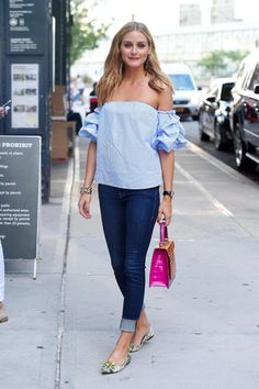 Olivia Palermo wears an off-the-shoulder top in New York.