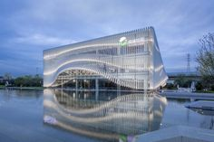 lacime architects cover exhibition hall with undulating façade in suzhou, china Parametric Architecture, Parametric Design, Facade Architecture, Theater Architecture, Ancient Architecture, Sustainable Architecture, Landscape Architecture, Hall Design, Library Design