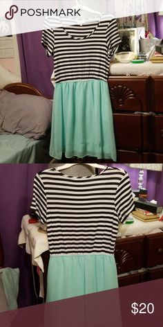b3fbfad57 Charming Charlie dress Mint colored bottom with black and white striped  top. Top part is t shirt material. Skirt not at all see through.